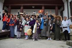 近江八幡観光協会のある「白雲館」で出陣式。みんな揃って「えいえいオー!」