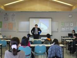 彦根市教育委員会事務局の川添さんのあいさつ