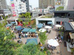 草津駅前のniwa+では毎月恒例のマルシェをまつりと同時開催