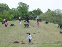 小山の上にたくさんの動物がいて、子どもたちはとても楽しそう