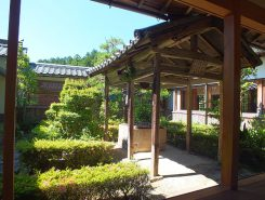 本堂と庫裏をつなぐ渡り廊下から見える井戸の庭。四方から広く見えるよう井戸の柱の間隔が変えられているそう