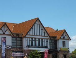 道の駅アグリパーク竜王は、オレンジ色の屋根が目印