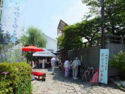 梅雨の中休みとなった13日には「八幡堀を守る会」主催の「花しょうぶ茶会」が明治橋のたもとで開かれた