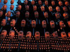 氏子や崇敬者から献灯された約9000灯の提灯