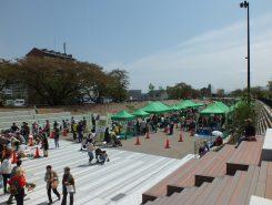 草津川跡地を利用した広々とした公園