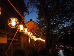 明治橋まで続く竹灯り