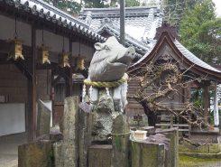本殿横の大猪の石像