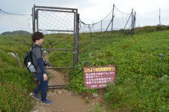 案内役の岩田さんと防護柵