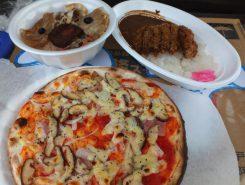 朝採りしいたけのピザ!タヌキの顔をモチーフにしたタヌキ丼やしいたけカツカレーも