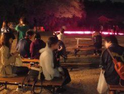 公園では、夜の散歩を楽しみながら行われた