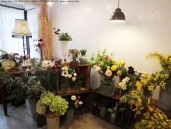 白い部屋に色とりどりの春の花が並ぶ
