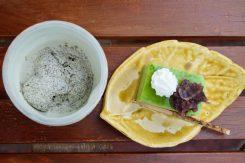 吟味した2種類のほうじ茶入りのアイス(左)と、上品で香り豊かな抹茶ババロア(右)。どちらも手作り!