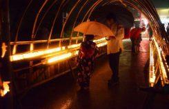 幻想的な竹のトンネル