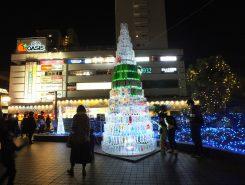 草津駅東口デッキ手作りのペットボトルツリー