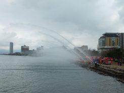 琵琶湖への一斉放水