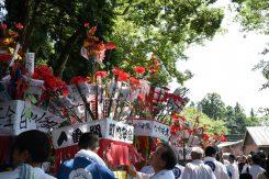 白川神社に向かう花傘巡行
