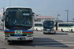 翌日の越前場所に向け出発する9台のバス